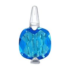 Подвеска из серебра с голубой стеклянной вставкой