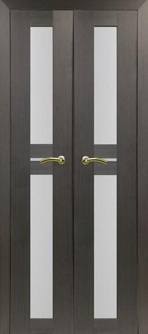 > Экошпон Optima Porte Турин 520.222 (двустворчатая), стекло матовое, цвет венге, остекленная