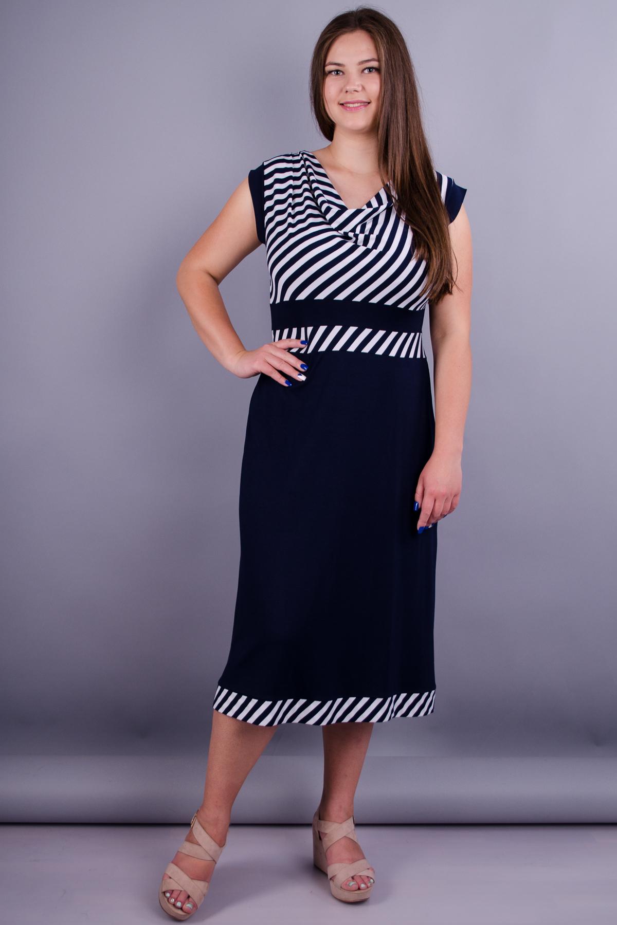 Валентина. Універсальна сукня великих розмірів. Синій.