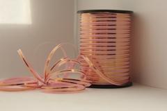 Лента с золотой полоской (0,5см*250ярд) Розовая