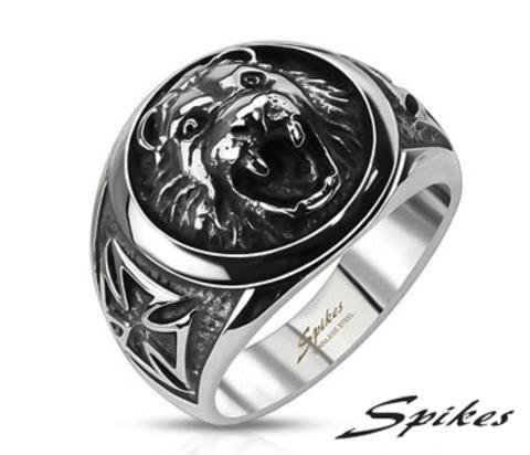 R-Q8041 Мужское стальное кольцо - печатка с медведем, &#34Spikes&#34