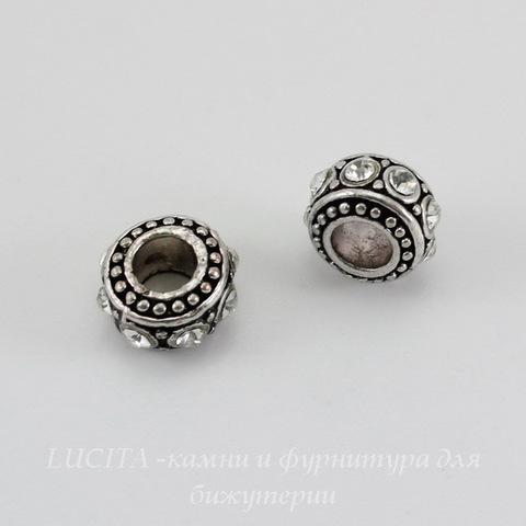 Бусина металлическая - рондель с прозрачными стразами (цвет - античное серебро) 11х6 мм