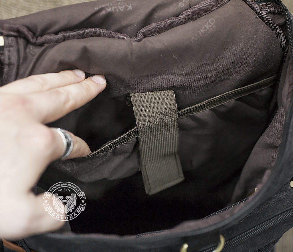 BAG368-3 Мужская сумка рюкзак - трансформер из ткани синего цвета фото 02