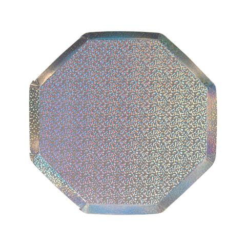 Маленькие сверкающие серебряные голографические восьмиугольные тарелки