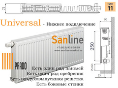Радиатор Prado Universal Тип 11x300x1600 Нижняя подводка