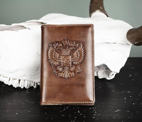 Кожаный ежедневник с гербом России (A6)