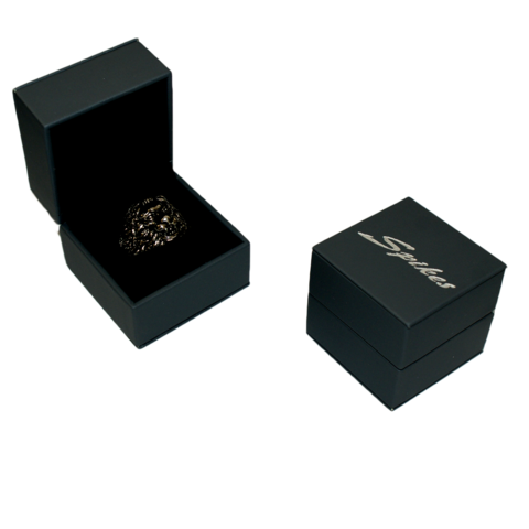 Футляр для кольца квадратный чёрный ложемент и замш SPIKES FG-20K
