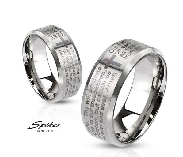 R-M2769-8 Мужское стальное кольцо «Spikes» с молитвой на английском языке