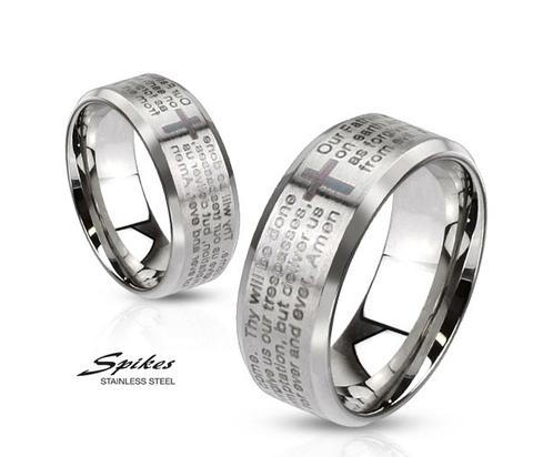 Мужское стальное кольцо «Spikes» с молитвой на английском языке