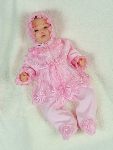 Велюровый наряд на крестины девочке Мари нежно-розовый