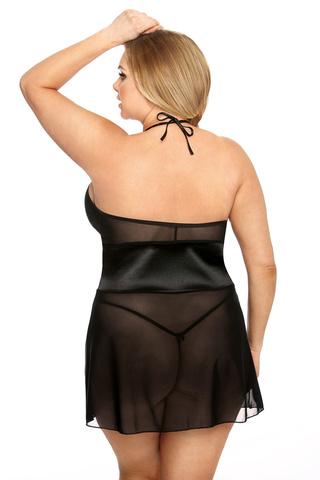 Женская черная сорочка со шнуровкой
