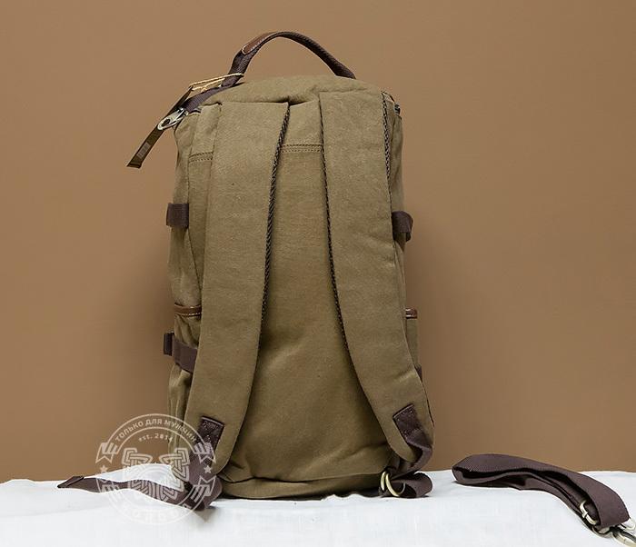 BAG368-3 Мужская сумка рюкзак - трансформер из ткани синего цвета фото 04
