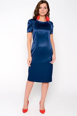 Элегантное платье из плотного атласа. Приталенный силуэт, по спинке замок. Рукав реглан с эффектными складками. Отличный вариант для торжества. Длина: 44-99см, 46-100см, 48-101см, 50-102см.