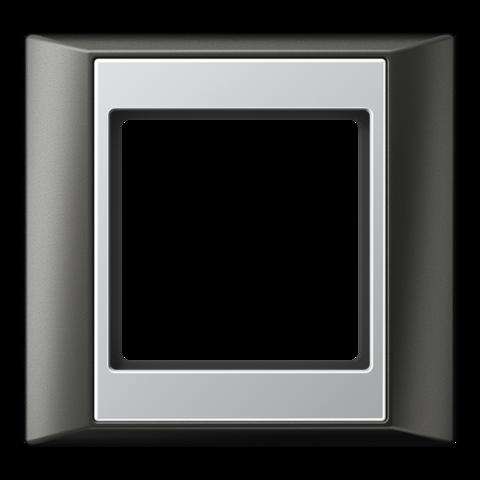 Рамка на 1 пост. Цвет Антрацит-алюминий. JUNG A PLUS. AP581ANTAL
