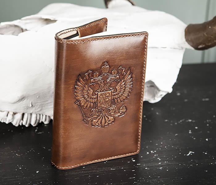 BC213-2 Кожаный ежедневник с гербом России (A6) фото 03