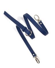 Тонкий плечевой ремень из сафьяна синего цвета