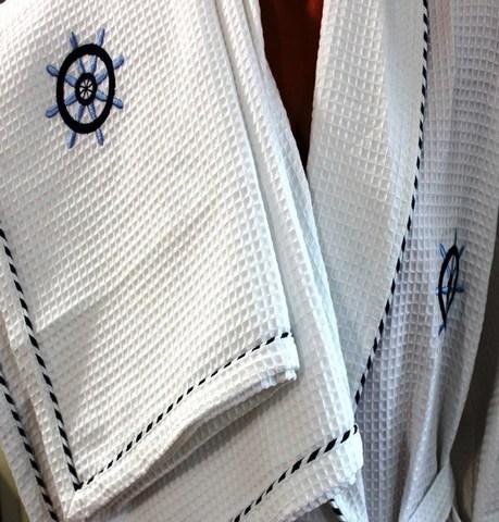 Вафельный мужской халат MARINE  в наборе с полотенцами  Maison Dor