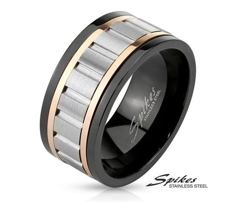 R-M3680 Мужское кольцо &#34Spikes&#34 из ювелирной стали с крутящейся вставкой