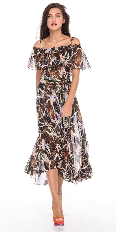 Платье З184-146 - Платье из нежнейшего прозрачного шифона с расклешенной юбкой. Горловина присборена резинкой и обработана широким воланом, что позволяет носить платье как с открытыми плечами, так и с закрытыми. В комплекте трикотажная юбка-подкладка и пояс-кушак из такой же ткани. Прекрасный выбор для отпуска и повседневных образов