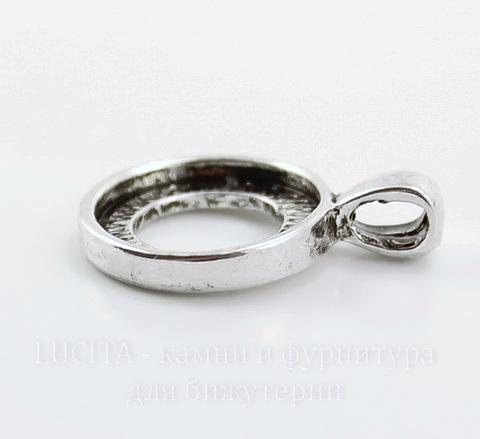 Сеттинг - основа - подвеска для кабошона или камеи 15 мм (цвет - античное серебро) 25х17 мм