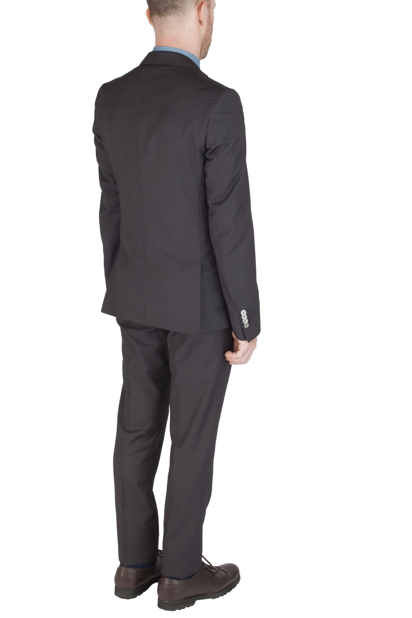 Тёмно-серый шерстяной костюм в тонкую светлую полоску