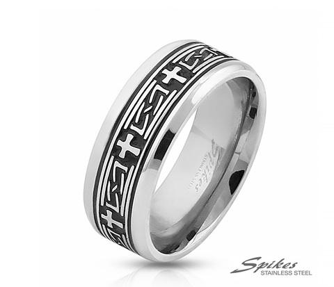 Мужское кольцо из стали с чернением и крестами, «Spikes»