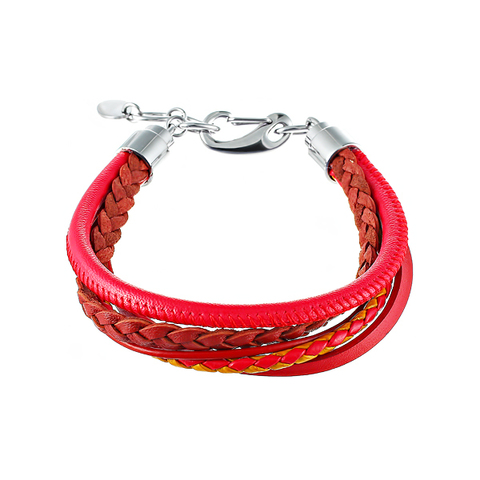 Браслет мужской красный 5в1 из кожи JV TOE-569-60182
