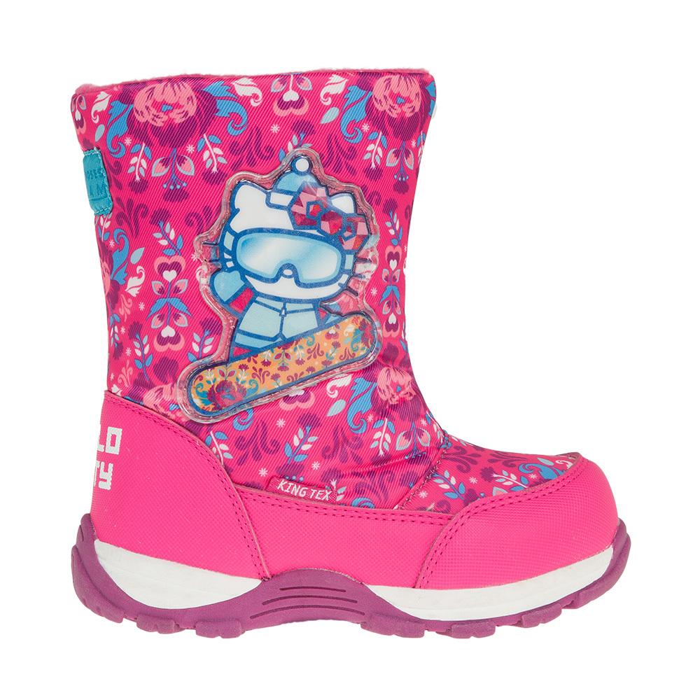 Зимние сапоги Хелло Китти (Hello Kitty) на молнии с мембраной для девочек, цвет розовый