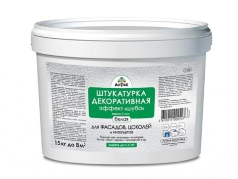 Латек Штукатурка эффект «шуба», размер зерна 2 мм белая Л308
