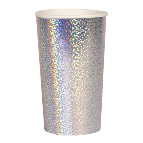 Большие сверкающие серебряные голографические стаканы для коктейлей