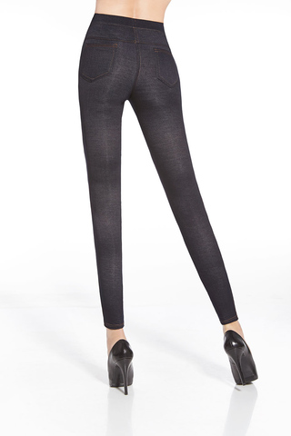 Темно-синие легинсы с эффектом джинс.