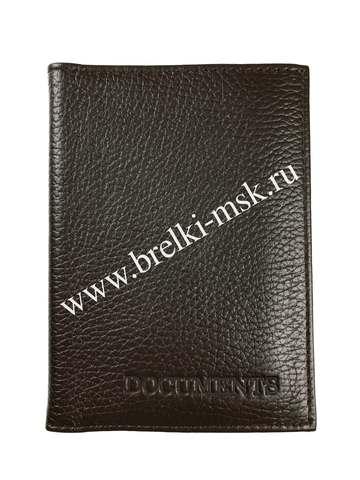 Обложка 2в1 для автодокументов и паспорта из натуральной кожи Флотер. Цвет Черный