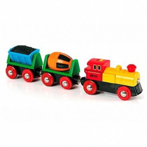 BRIO 33319 Товарный поезд деревянной железной дороги со световыми эффектами, на батарейках
