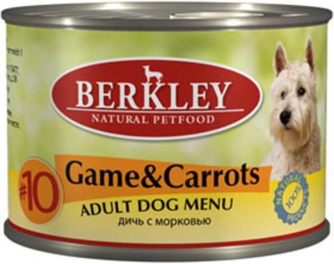 Консервы Berkley №10 Дичь с морковью для собак
