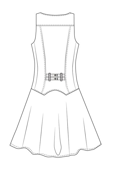 Выкройка сарафана с имитацией жилета для девочки спинка