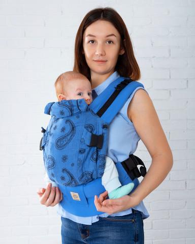 Эрго-рюкзак Мини-люкс пейсли голубой