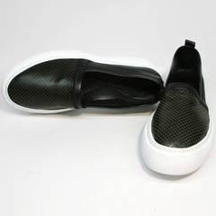 Черные слипоны кожаные женские Evromoda 457.024e White Black.