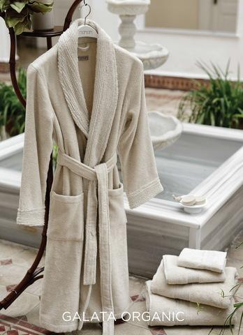 Элитный халат махровый Galata Organic Contrast льняной от Hamam