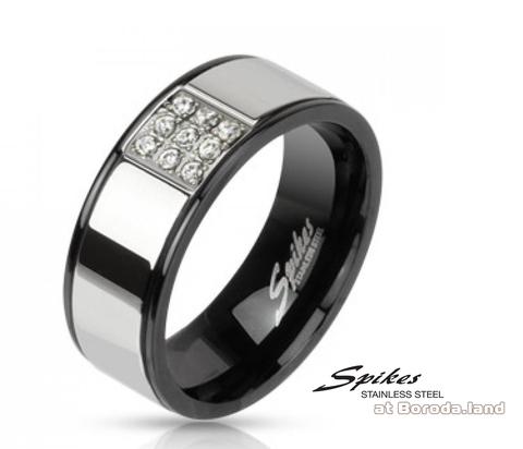 Мужское стальное кольцо «Spikes» с камнями