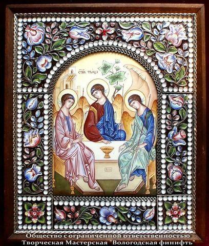 Икона  финифть Святая Троица (Арт.408)