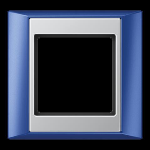 Рамка на 1 пост. Цвет Синий-алюминий. JUNG A PLUS. AP581BLAL