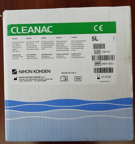 Очищающий реагент Клианак (Cleanac), 5л - Nihon Kohden Firenze S.r.l., Италия (арт.МЕК-520I)