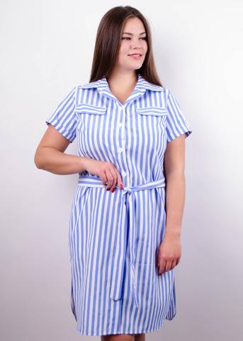 Ирина. Платье-рубашка больших размеров. Голубая полоса.