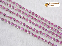 Цепь стразовая ss10 розовые камни на серебре