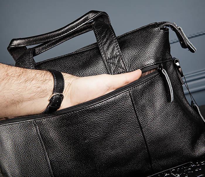 BAG513-1 Стильная мужская сумка из натуральной кожи фото 08
