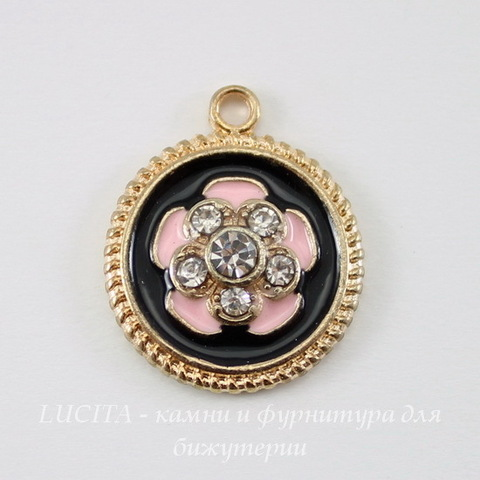 """Подвеска круглая с эмалью и прозрачными стразами """"Цветок розовый"""" (цвет - золото) 20х16 мм"""