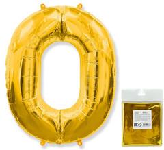 F Цифра 0, Золото, 40''/102 см, 1 шт. в упаковке