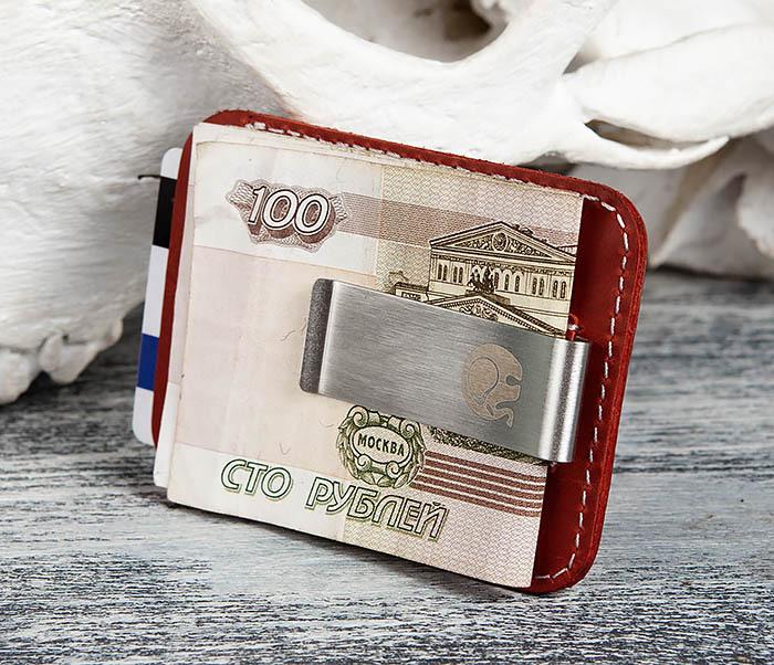 WL300-3 Оригинальный зажим для купюр из стали и кожи