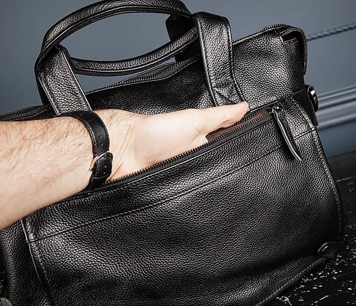 BAG513-1 Стильная мужская сумка из натуральной кожи фото 09