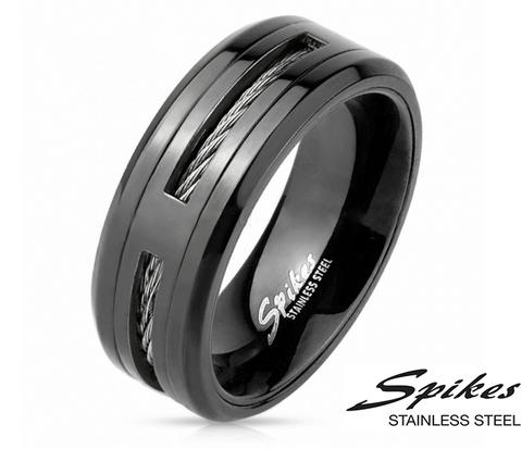 Черное мужское кольцо «Spikes» из стали с тросом